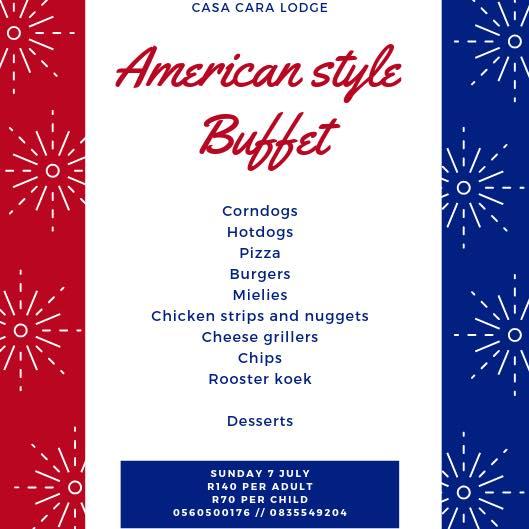American Style Buffet at Casa Cara Lodge Parys -Sunday 7 July 2019 1